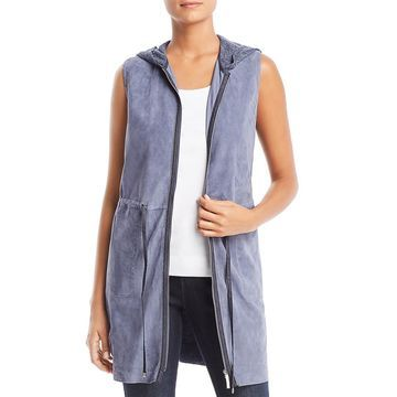 Lafayette 148 New York Womens Leather Suede Vest