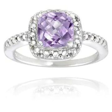 Glitzy Rocks Sterling Silver Square Cushion-cut Gemstone and Diamond Accent Ring (February - Purple - Purple/Yellow - 8.5 - Amethyst)