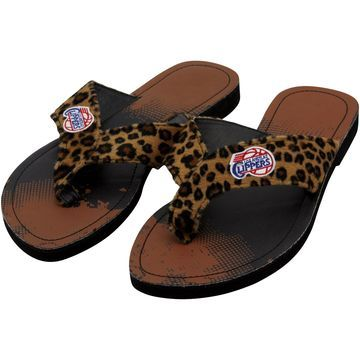 LA Clippers Women's Cheetah Strap Flip Flops