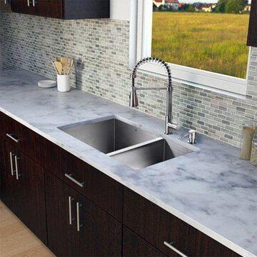 Vigo VG15178 Double Basin Undermount Kitchen Sink and Faucet Set