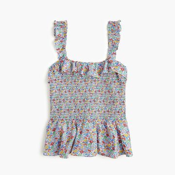 Smocked ruffle top in Liberty& Favourite Flowers