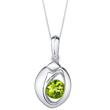Oravo Peridot Sterling Silver Sphere Pendant Necklace - Green