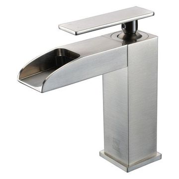 ALFI brand AB1598-BN Brushed Nickel Single Hole Waterfall Bathroom Faucet