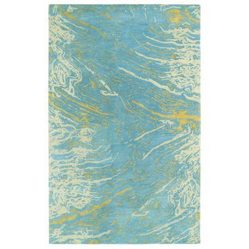 Kaleen Brushstrokes 4 x 6 Blue Distressed/Overdyed Bohemian/Eclectic Handcrafted Area Rug Cotton   BRS01-17-3656