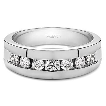 TwoBirch 10k Gold Men's Moissanite Stone Wedding Ring