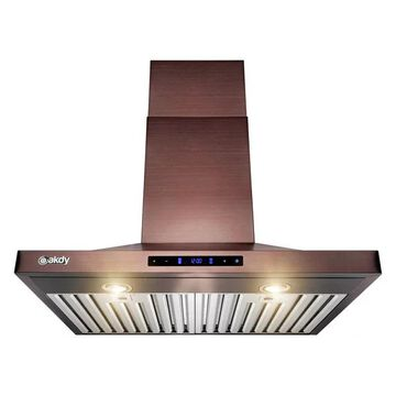 AKDY 30a Wall Mount Brushed Bronze Stainless Steel Range Hood