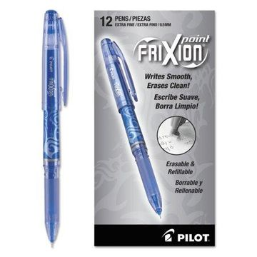 Pilot FriXion Point Erasable Gel Ink Stick Pen, Blue Ink, .5mm, Dozen