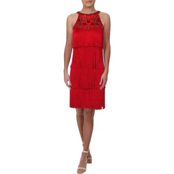 Aidan Mattox Womens Cocktail Dress Sleeveless Fringe