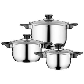 BergHOFF Essentials Gourmet 6pc 18/10 SS Cookware Set, Black Handles Stainless Steel
