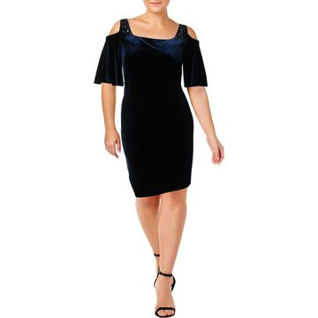 Alex Evenings Womens Plus Embellished Cold Shoulder Cocktail Dress