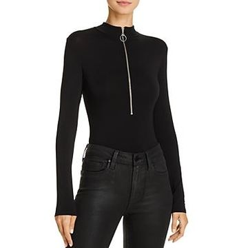 Enza Costa Mock Neck Zip-Up Bodysuit