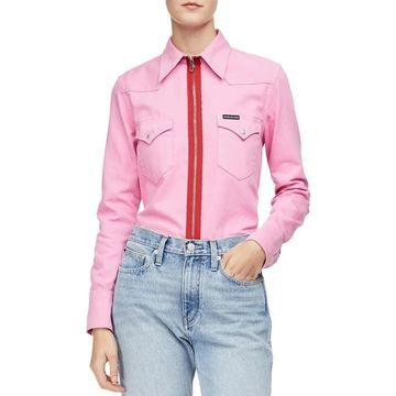 Calvin Klein Jeans Womens Blouse Western Long Sleeve