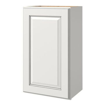 allen + roth Bickershire 18-in W x 30.125-in H x 12-in D Pewter Maple Door Wall Semi-Custom Cabinet in White