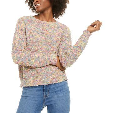 Juniors' Rainbow Popcorn Sweater