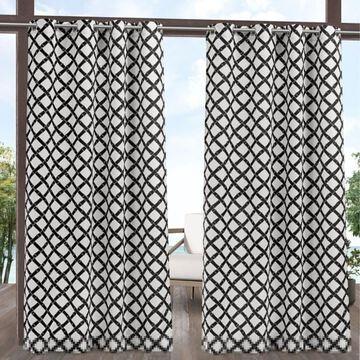 Exclusive Home 2-pack Trellis Indoor/Outdoor Light Filtering Grommet Window Curtains