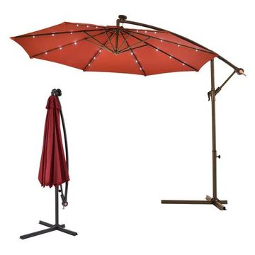 Costway 10' Hanging Solar LED Umbrella Patio Sun Shade Offset Market W