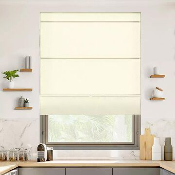Chicology Cordless Magnetic Roman Shade, Beig/Green, 48X64