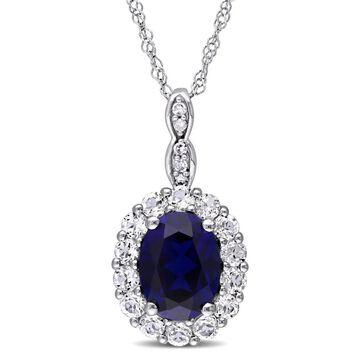 Miadora 14k White Gold Oval-cut Created Blue Sapphire White Topaz and Diamond Accent Halo Necklace