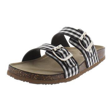Madden Girl Womens Brando Gingham Buckle Slide Sandals