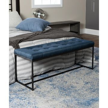 Walker Edison Benches Blue - Blue Upholstered Bench