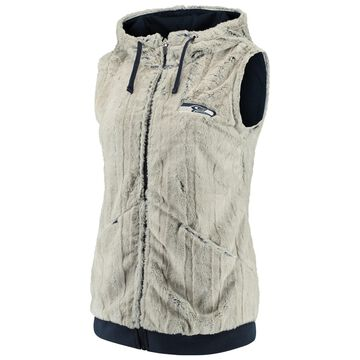Women's Antigua Silver/College Navy Seattle Seahawks Rant Hooded Full-Zip Vest