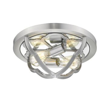 Golden Lighting Saxon 17-in Pewter Traditional Incandescent Flush Mount Light