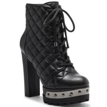 Jessica Simpson Women's Irella High Heeled Platform Lace Up Lug Sole Booties Women's Shoes