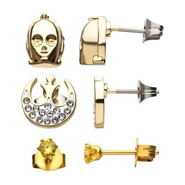 Womens' Star Wars Silver Plate Gold C-3PO, Rebel Symbol and Stud Earrings Set