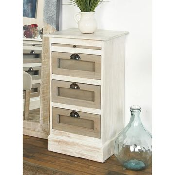 Contemporary 3-Drawer Mahogany Wood and Glass Side Chest by Studio 350