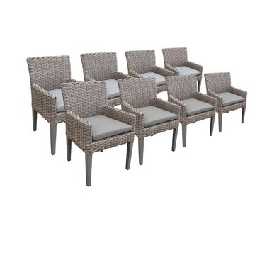 TK Classics Florence Wicker Dining Chairs with Arms (Set of 8)