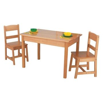 KidKraft Rectangle Table and 2 Chair Set, Natural
