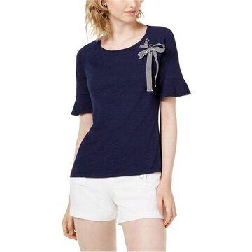 maison Jules Womens Grommet Ribbon Basic T-Shirt