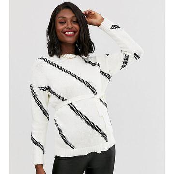 Mamalicious maternity chunky stitching detail sweater in white