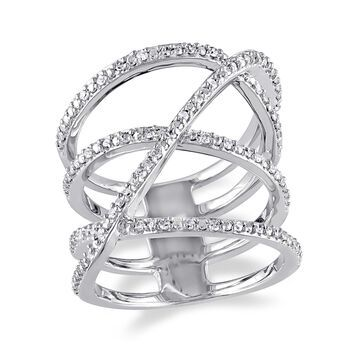 1/5 Carat T.W. Diamond Sterling Silver Crossover Ring