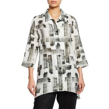 Plus Size Brushstroke Button-Front Tissue Linen Side-Fall Shirt