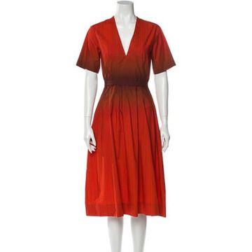 Plunge Neckline Midi Length Dress Red