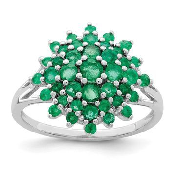 Sterling Silver Rhodium-plated Green Emerald 2mm Ring by Versil (9)