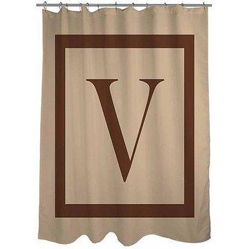 Thumbprintz Classic Block Monogram Caramel Shower Curtain