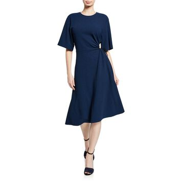 Crewneck Elbow-Sleeve Side-Cutout A-Line Dress
