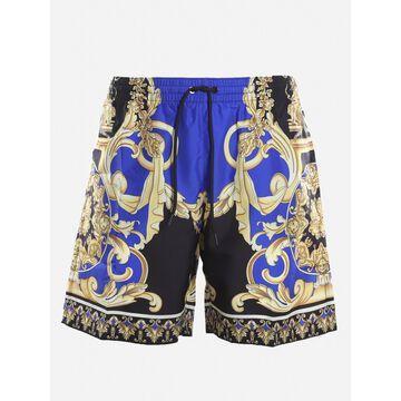 Versace Nylon Swim Shorts With All-over Barocco Print