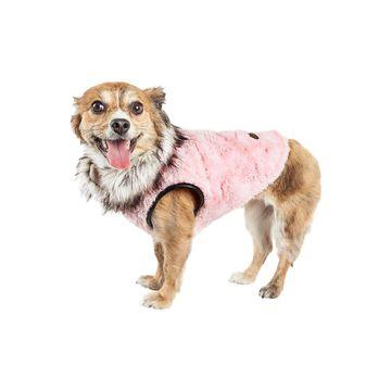 Pet Life Luxe 'Pinkachew' Charming Designer Mink Fur Dog Coat Jacket