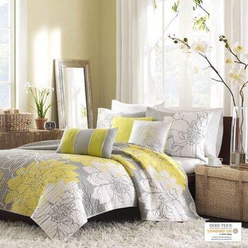 Home Essence Jane 6 Piece Cotton Quilted Coverlet Set