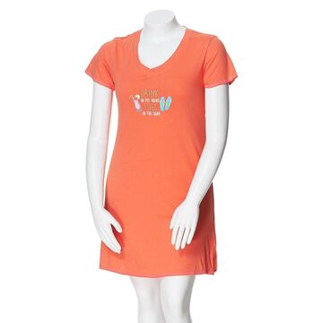 Womens Rene Rofe V-Neck Drink in My Embroidered Nightshirt