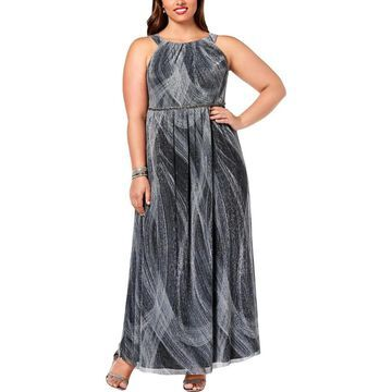 SL Fashions Womens Plus Formal Dress Metallic Pleated