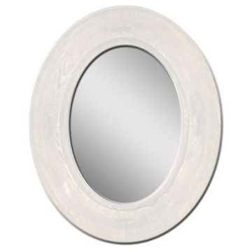 Oval Rustic Wood Villa Decorative Wall Mirror White - PTM Images
