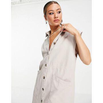 Noisy May denim shirt dress in stone-Grey