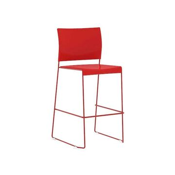 Safco Currant Powder Coated Solid Steel Bistro Height Stacking Chair - Red