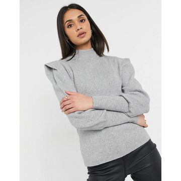 Vila high neck knitted sweater with shoulder pads in gray-Grey