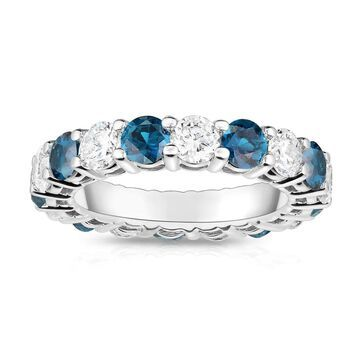 Noray Designs 14K White Gold London Blue Topaz & Diamond (4.00 Ct-5.00 Ct, SI2-I1 Clarity) Eternity Ring (5.5)
