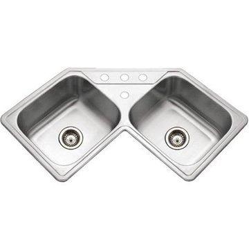 Houzer LCR-3221-1 Legend Series Topmount Stainless Steel 4-hole Corner Bowl Kitchen Sink